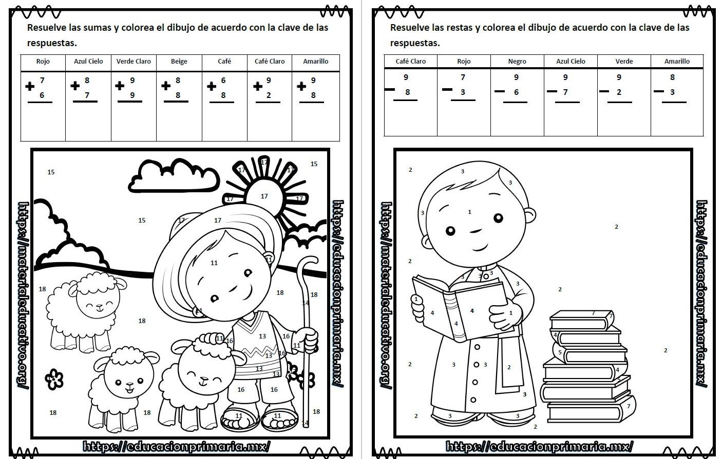 Suma Resta Colorea Y Descubre El Dibujo De Benito Juárez Para