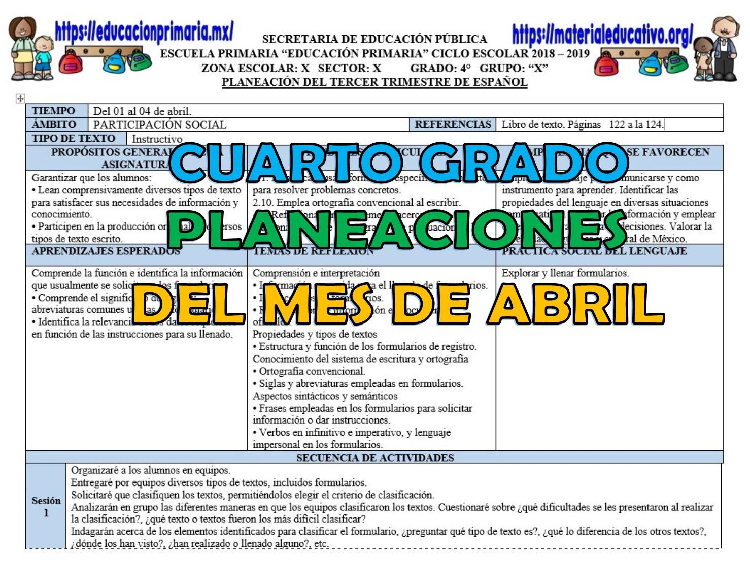 Planeación del cuarto grado para el mes de abril del tercer ...