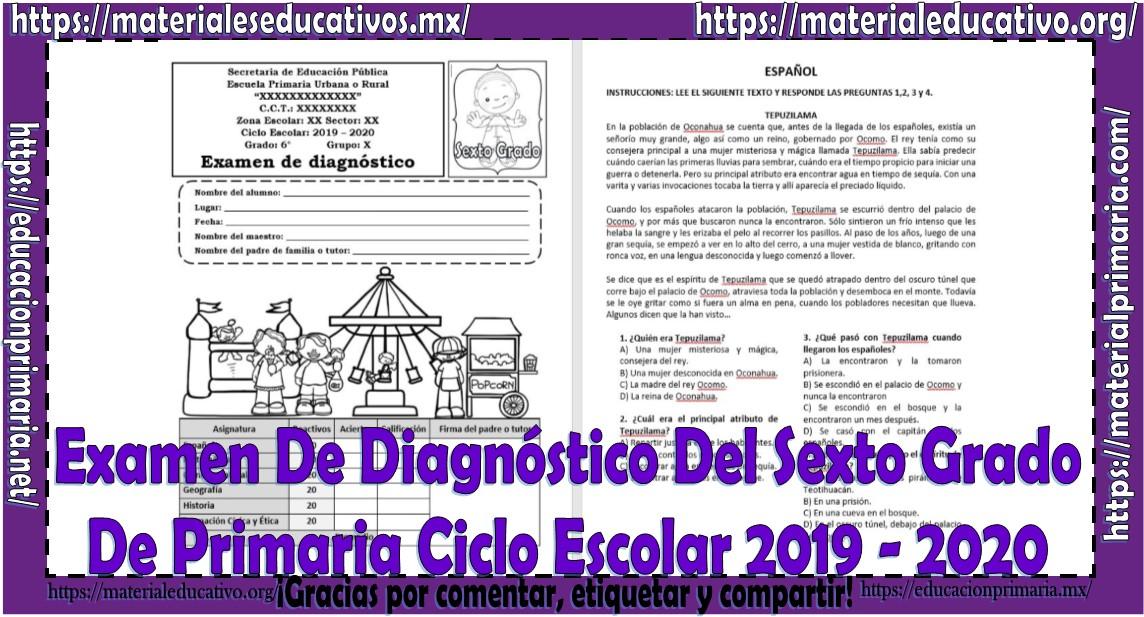 Examen del sexto grado de diagnóstico de primaria ciclo